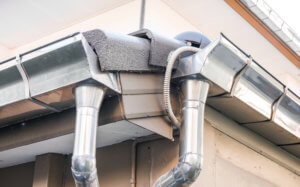 Rain gutter system on roof of House