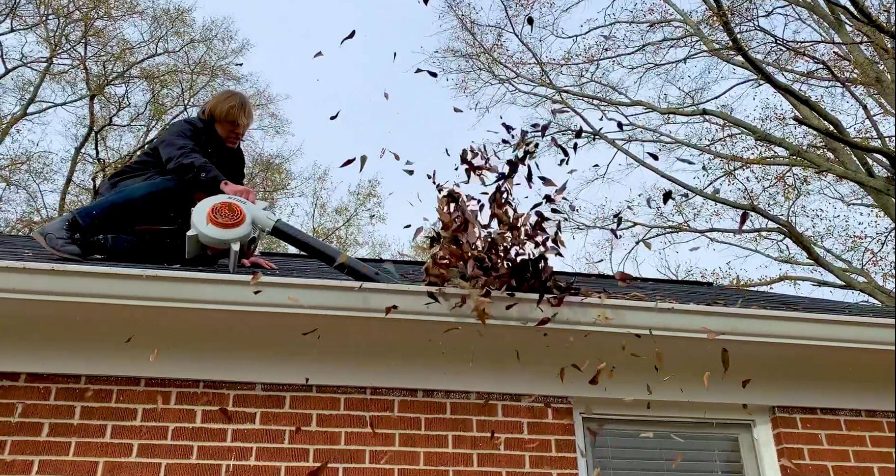 Gutter Cleaning with Leaf Blower